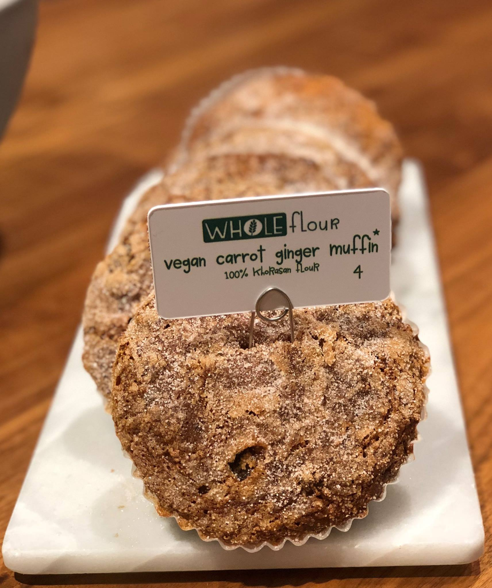 Vegan Carrot Ginger Muffin Made from Whole Grain Khorasan wheat flour. Image Courtesy of Flour Bakery