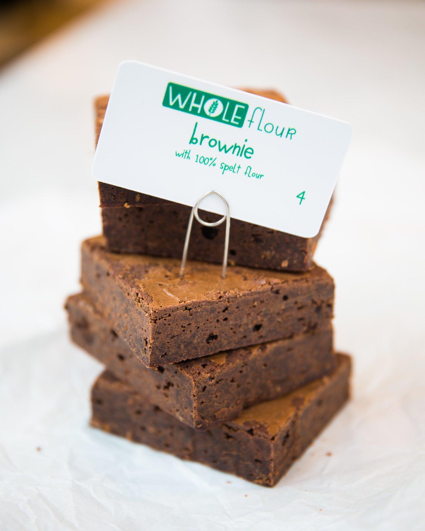 WHOLEflour Brownies Made From Whole Grain Spelt Flour. Image Courtesy of Flour Bakery.